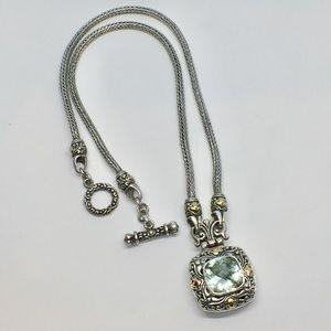Samuel Benham Sterling/18k Green Amethyst Necklace